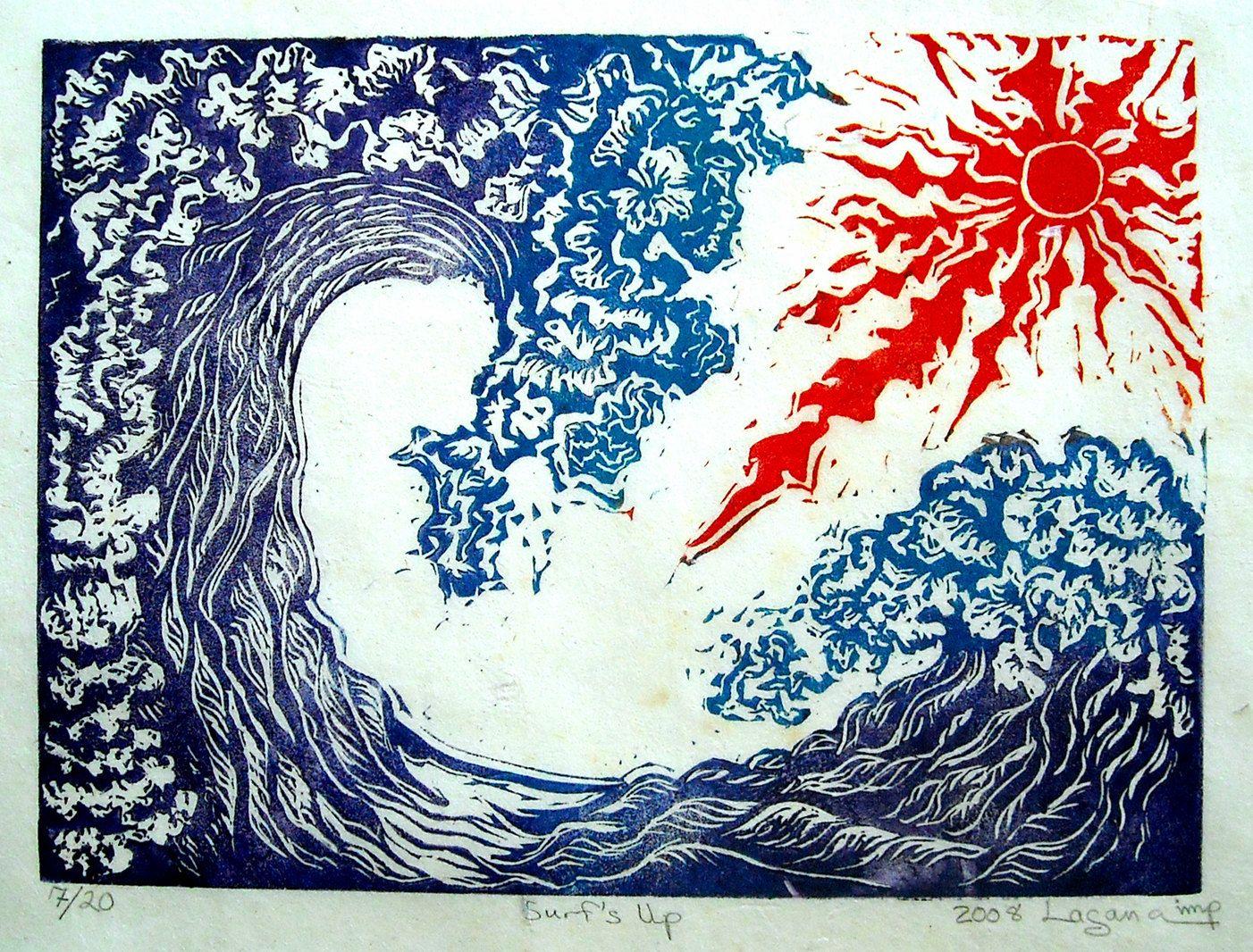Surfs Up Limited Edition Color Linoleum Block Print Hand Printed