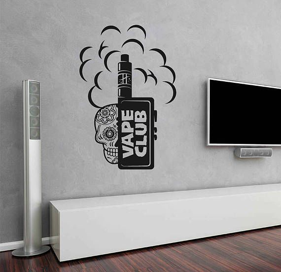 vape shop logo wall decal vape emblem wall stiker vaper on wall logo decal id=24242