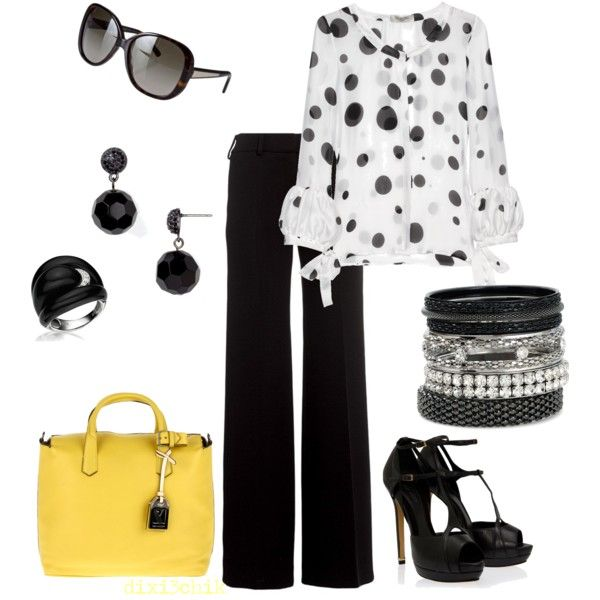 love the polka dots and the little yellow color with the purse