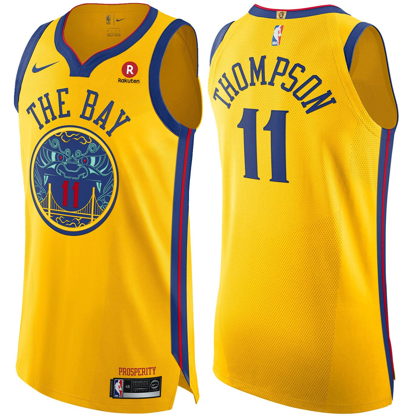 b4ccf8bc179 Golden State Warriors Nike Men s Chinese Heritage Klay Thompson  11  Authentic On Court City Edition Jersey - Gold