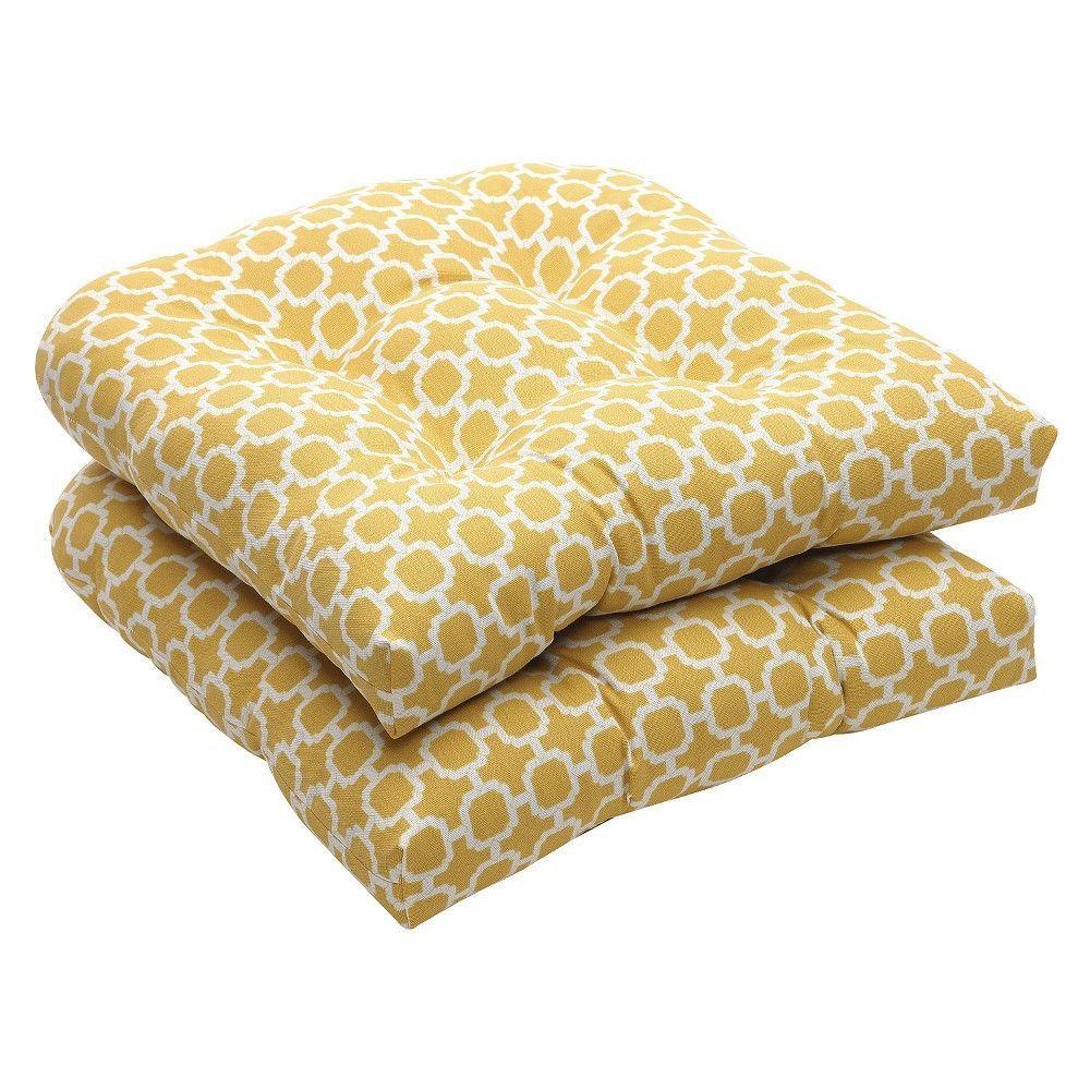 Outdoor piece tufted chair cushion set yellowwhite geometric