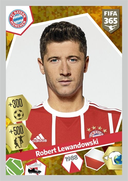 Robert Lewandowski Milan Panini 365 Gold Sticker 2017 2018