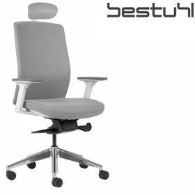 Bestuhl J2 White U0026 Grey Fabric Task Chair With Headrest  Www.officefurnitureonline.co.