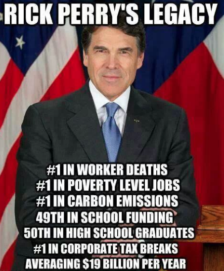 Rick Perry, former Texas Governor.  Here's why Texas may not be the best place to live.