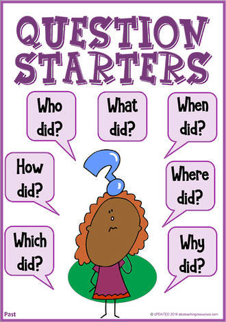 Question Starters | Literal Questioning | Past Information ...