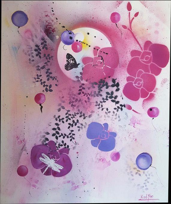 peinture acrylique rose violet noir blanc papillon libellule fleur feuilles bulles sur chssis toile coton