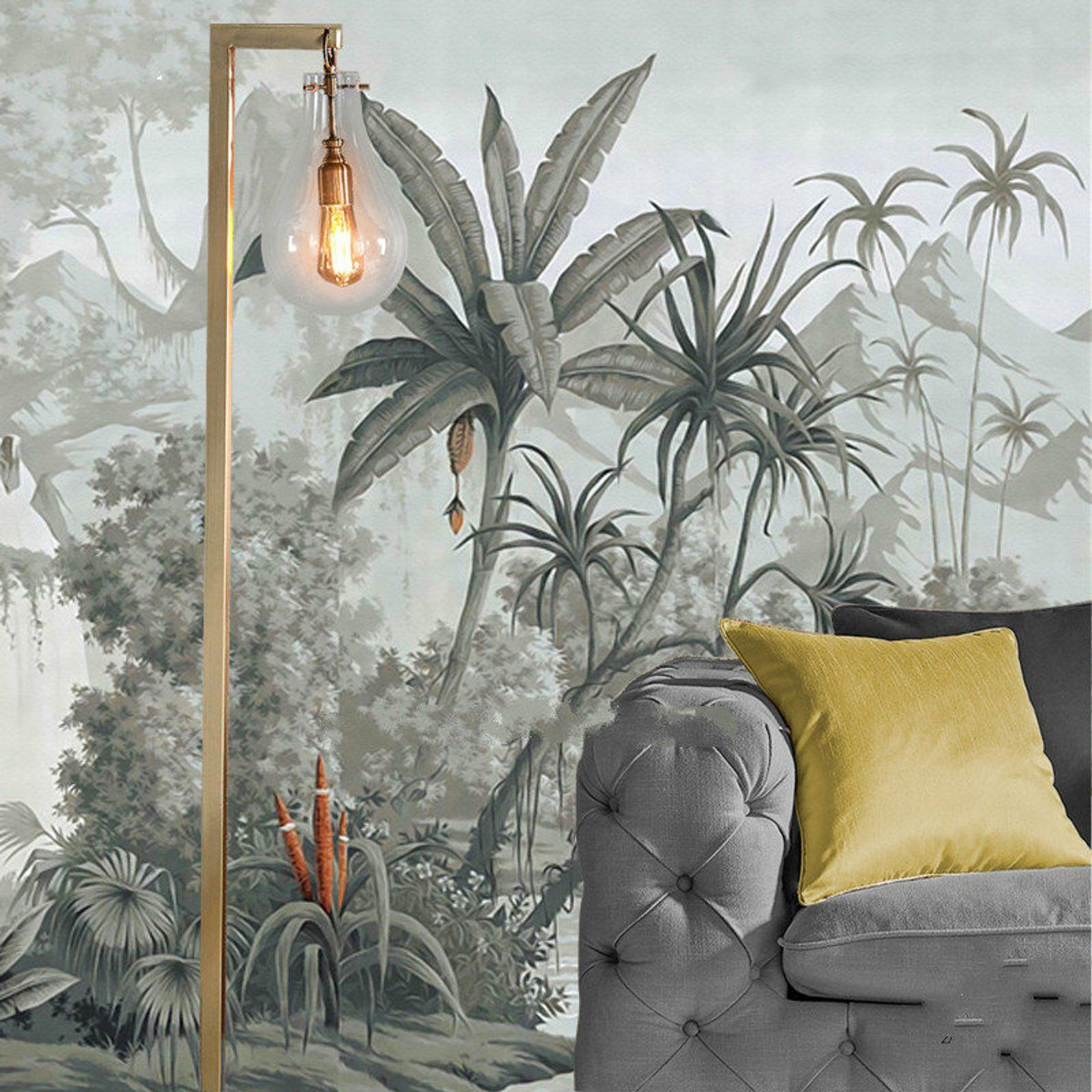 Hand Painted Retro Tropical Plants Wallpaper Wall Mural