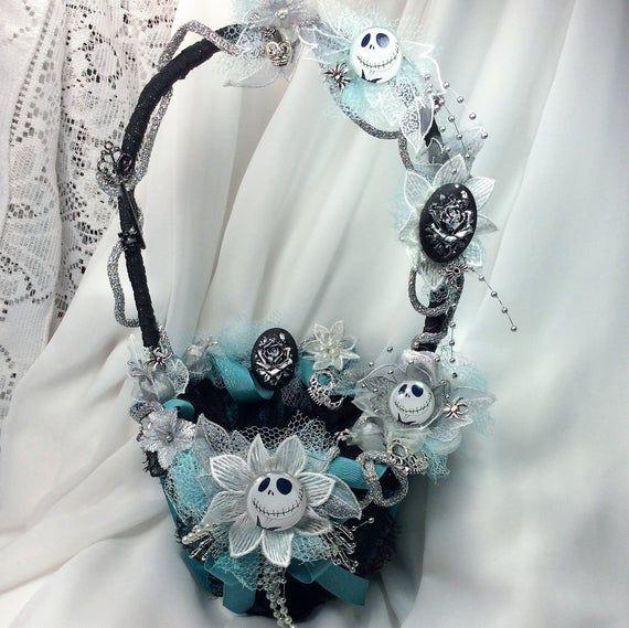Nightmare Wedding Flower Girls Basket Black white Aqua Wedding Accessories Girls Flowers Proposal Gift Idea Halloween Wedding Girls Gift