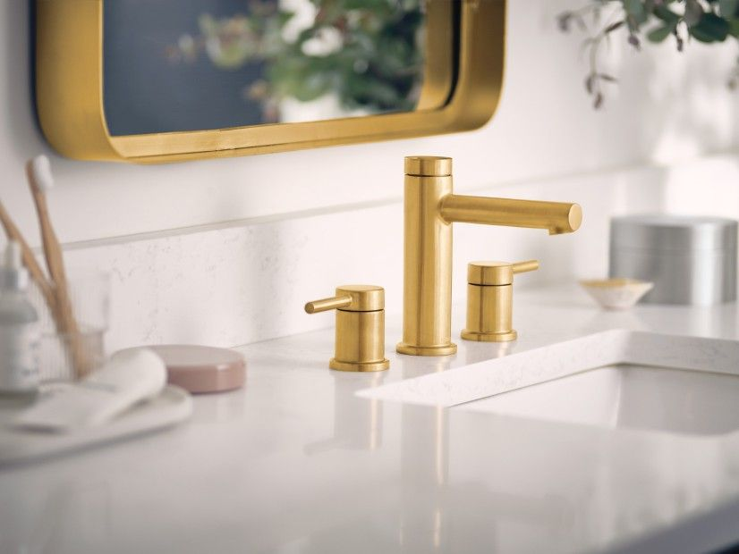Align Brushed Gold Two Handle High Arc Bathroom Faucet