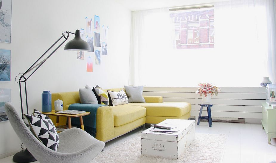 How To Design With And Around A Yellow Living Room Sofa  Yellow Simple Clean Living Room Inspiration Design
