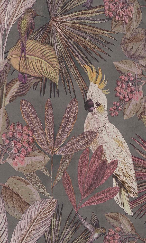 Dark Grey Tropical Paradise Wallpaper R6040