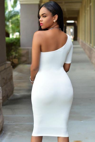 9952a0d4fd Classic White Single Sleeve Shoulder Bodycon Mini Dress