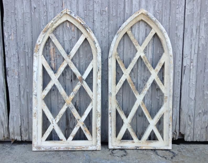 30x14 Hansel Gretel Window Frame Arched Wood Window Cathedral