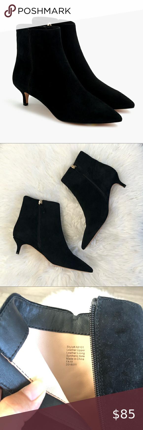 J Crew Fiona Kitten Heel Ankle Boots Suede Sz 8 5 In 2020 Kitten Heel Ankle Boots Heeled Ankle Boots Boots
