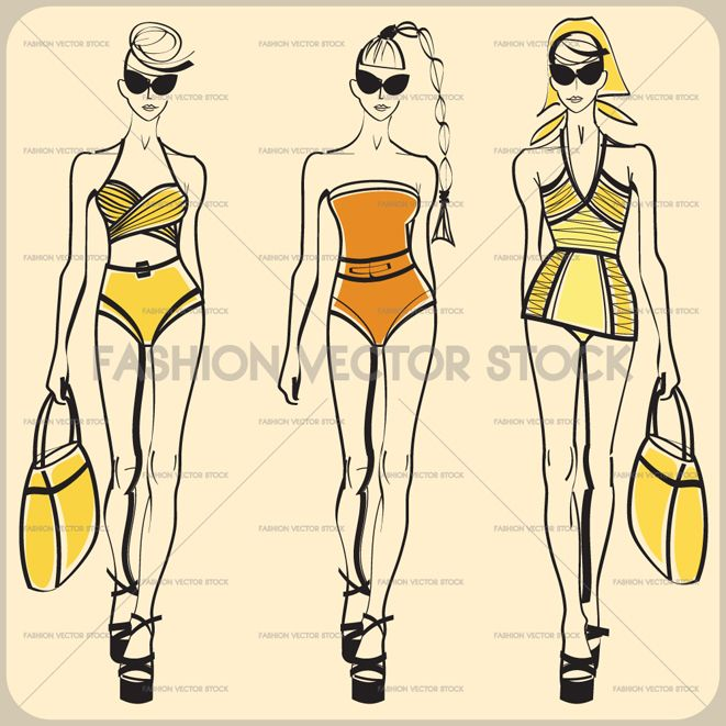 A vector fashion sketch of ladies in retro bathing suits. ®Yordanka Poleganova