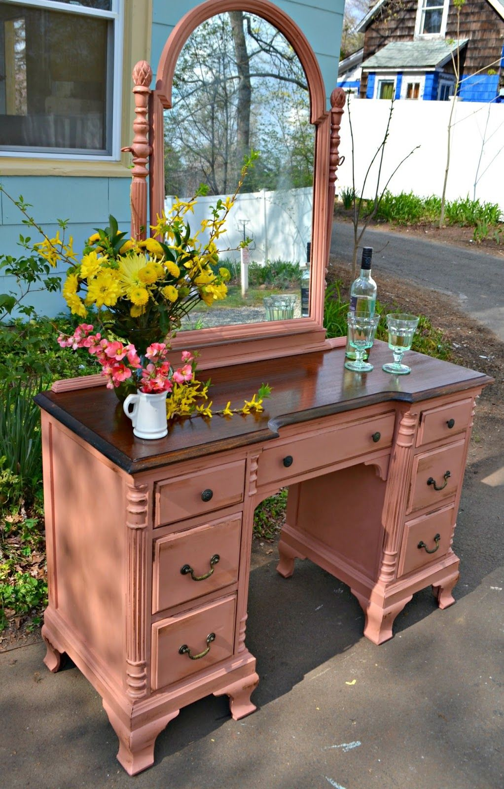 Heir and Space: An Antique Mahogany Vanity in Rose - Heir And Space: An Antique Mahogany Vanity In Rose Ash Projects