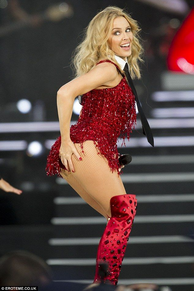 c9155741a45bc Red Blooded Woman! Kylie Minogue flashed her world famous derrière at  British Summer Time on Sunday