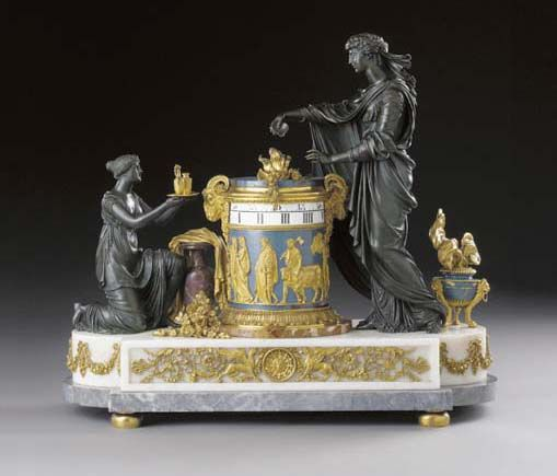 A LOUIS XVI ORMOLU, ENAMEL, BRONZE, SICILIAN JASPER AND MARBLE MANTEL CLOCK -  ATTRIBUTED TO PIERRE-PHILIPPE THOMIRE