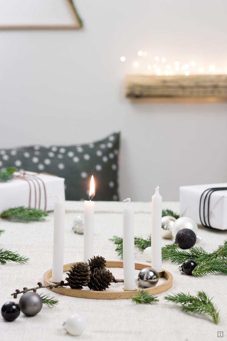 Adventskranz aus Stickrahmen #selbstgemachtesweihnachten