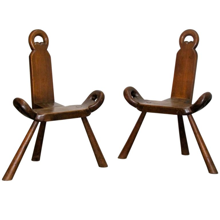 Pair of Swedish Three-legged Chairs - Pair Of Swedish Three-legged Chairs Third, Side Chair And Legs