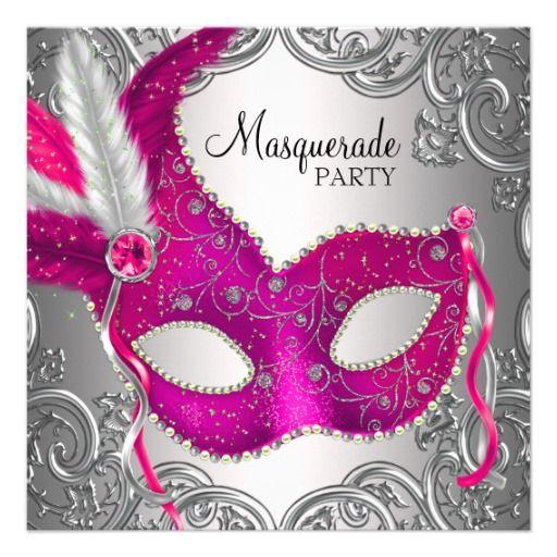 Hot Pink and Silver Mask Masquerade Party Card – Mask Invitations Masquerade Party