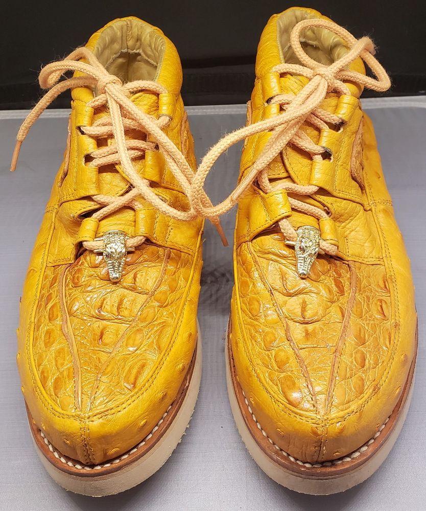 40ad6a3cacb Los Altos Genuine BUTTERCUP Caiman Crocodile Ostrich Casual Shoes ...