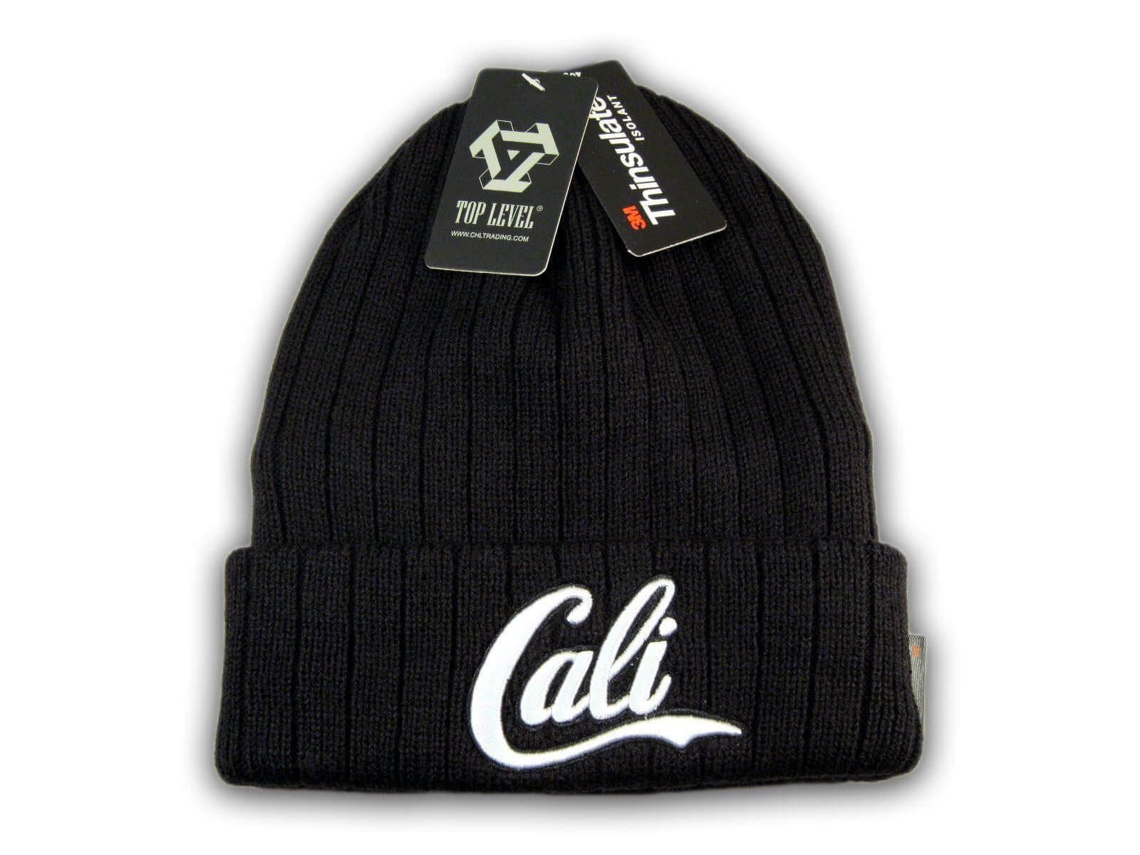 California hat CALI Beanie knit hat Cuffed Skull cap 3M THINSULATE Black//Gray