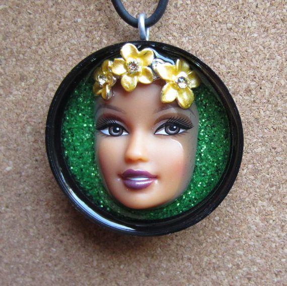 Upcycled Barbie doll flower eye art
