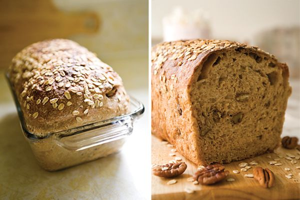 "Whole Wheat Sandwich Loaf with Oats and Pecans ~ via this blog, ""Yummy Workshop""."