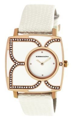 BCBGMAXAZRIA Ladies White Flower Watch