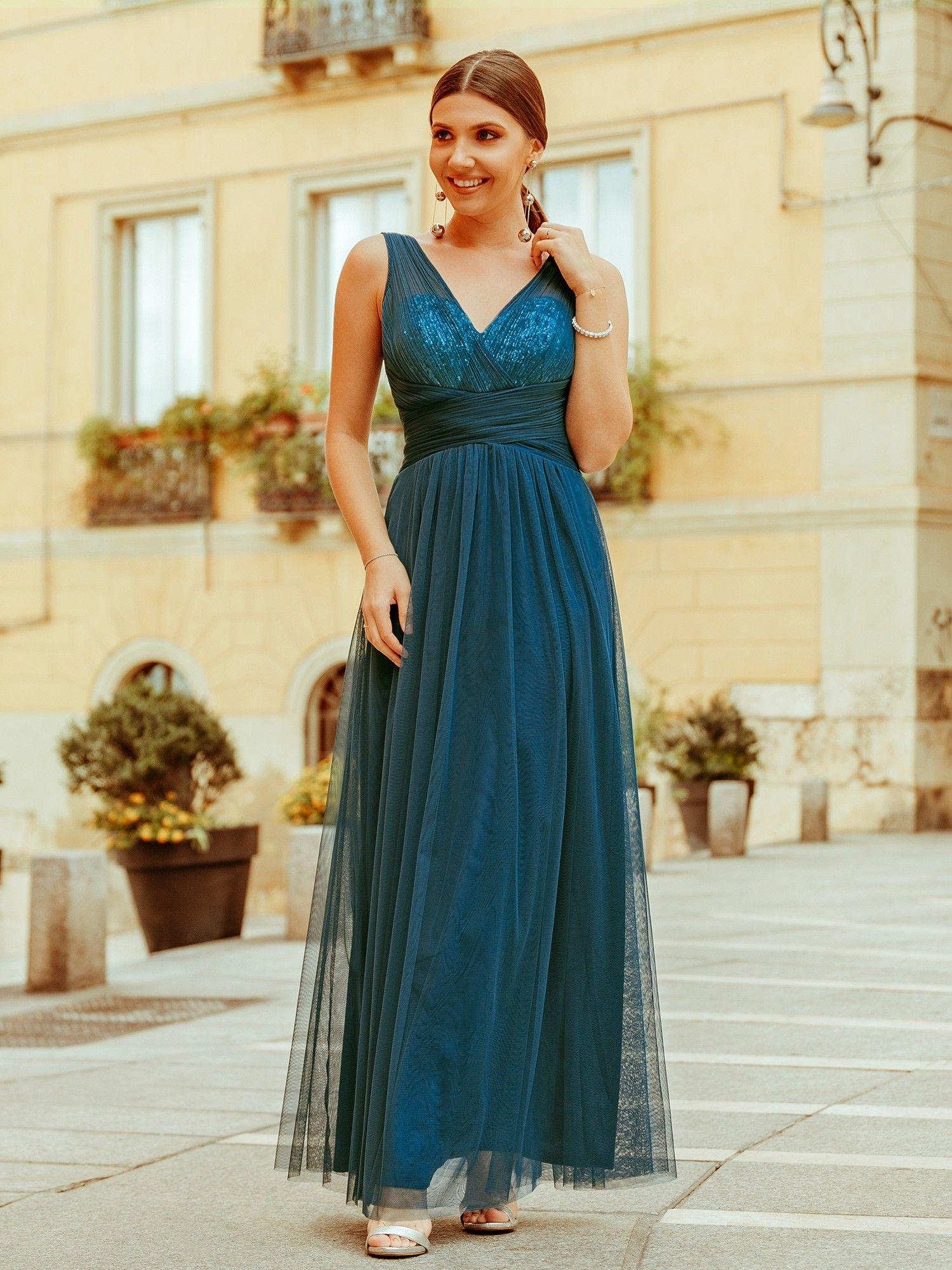 Ever-Pretty New Bridesmaid Dresses Long V-neck Evening Wedding Dresses 07458