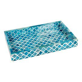 """POTALA TRAY IN TURQUOISE $113.95 Crafted with bone by Indian artisans, this lovely design is a delightful something special for a friend or a lovely finishing touch for your own décor.   Product: TrayConstruction Material: MDF and boneColor: TurquoiseFeatures: Damask designDimensions: 2"""" H x 16"""" W x 10"""" D"""