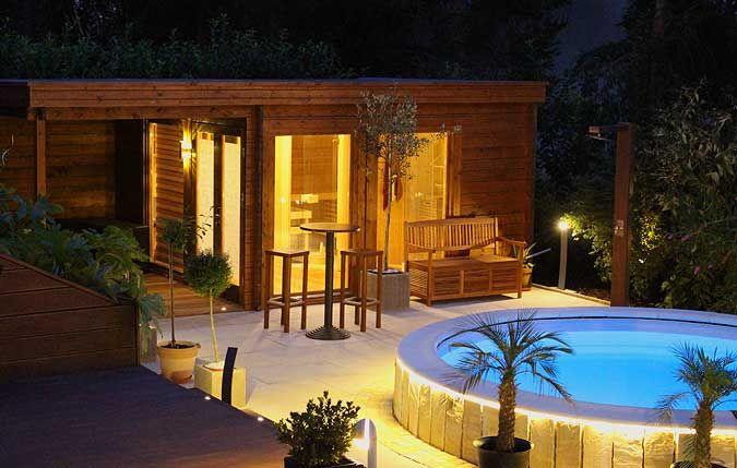 Popular Saunahaus mit Pool bei Nacht Pool Im GartenGarten
