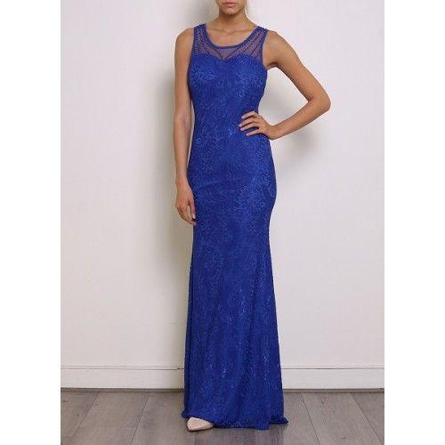 f1226eb006 Vestido Largo Ajustado Encaje Azul