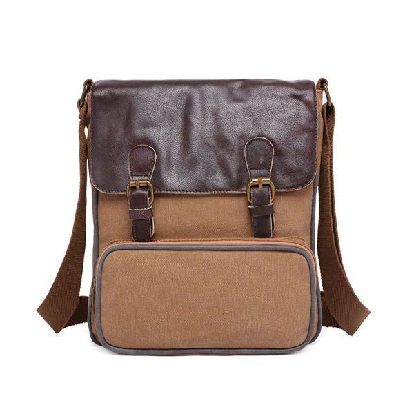 Retro Canvas PU Shoulder Bags Women Vintage Crossbody Bags