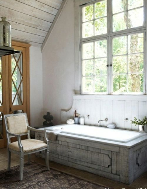 rustikale badezimmer design ideen badewanne eingebaut dachgeschoss - badezimmer ideen dachgeschoss