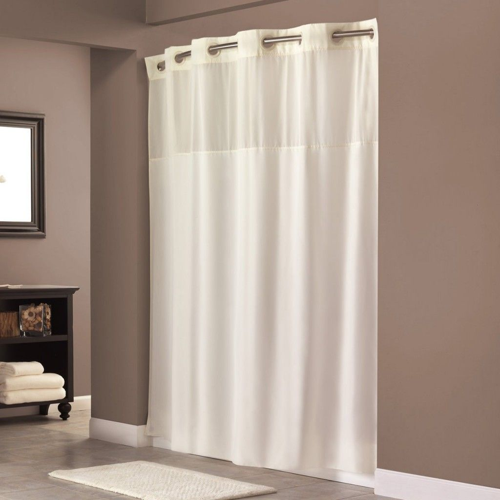 Hookless Shower Curtain With Window Decorating A Bathroom Simple