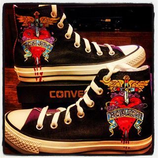 eb994591a260d Bon Jovi Converse high tops with the Bon Jovi Logo on them, T. | My ...