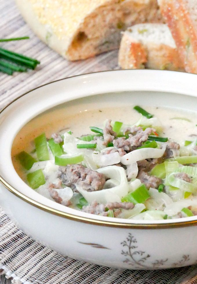 Hackfleisch-Käse-Lauch-Suppe | Rezept | Hackfleisch käse lauch suppe ...