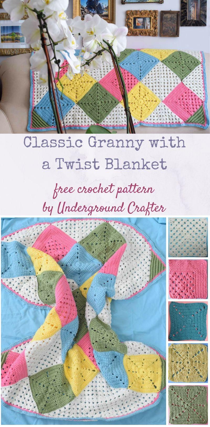 e1fbf0e4d9c3 Crochet pattern  Classic Granny with a Twist Blanket