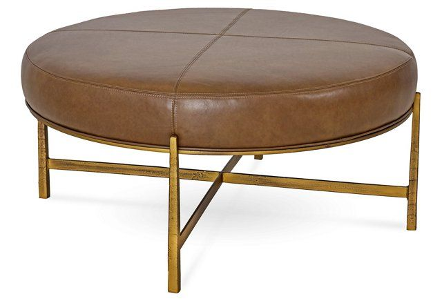 Rho Cocktail Ottoman, Saddle Leather | Home, Dream Home | Pinterest