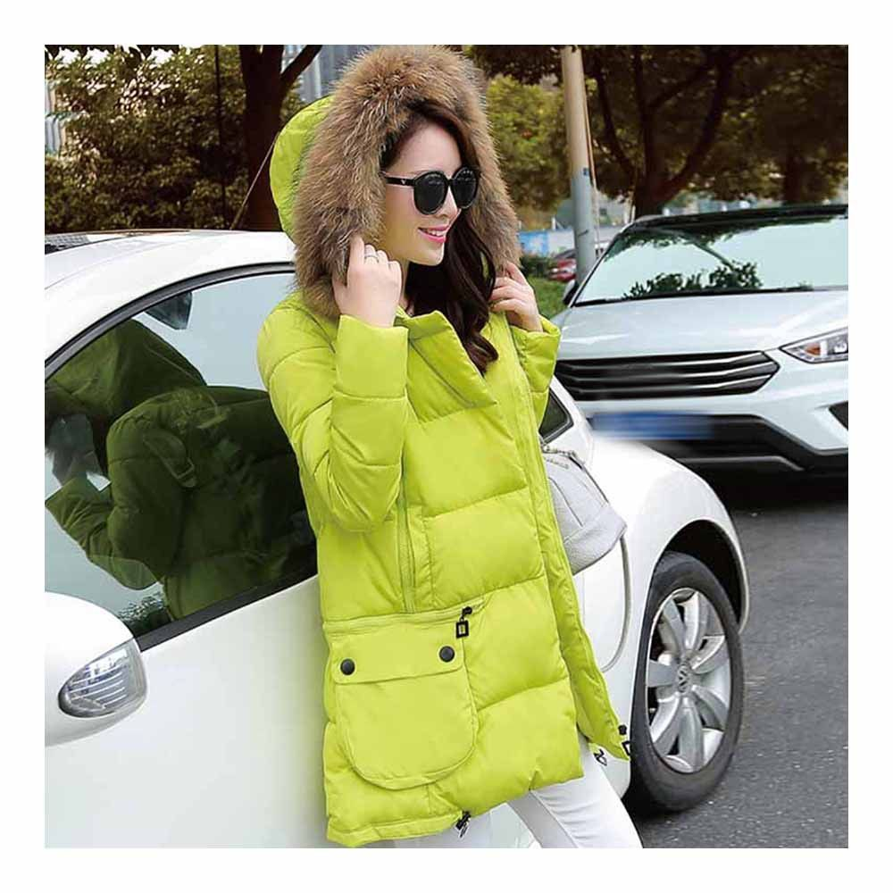 Winter Woman Fur Collar Down Coat Middle Long Warm fluorescent yellow S