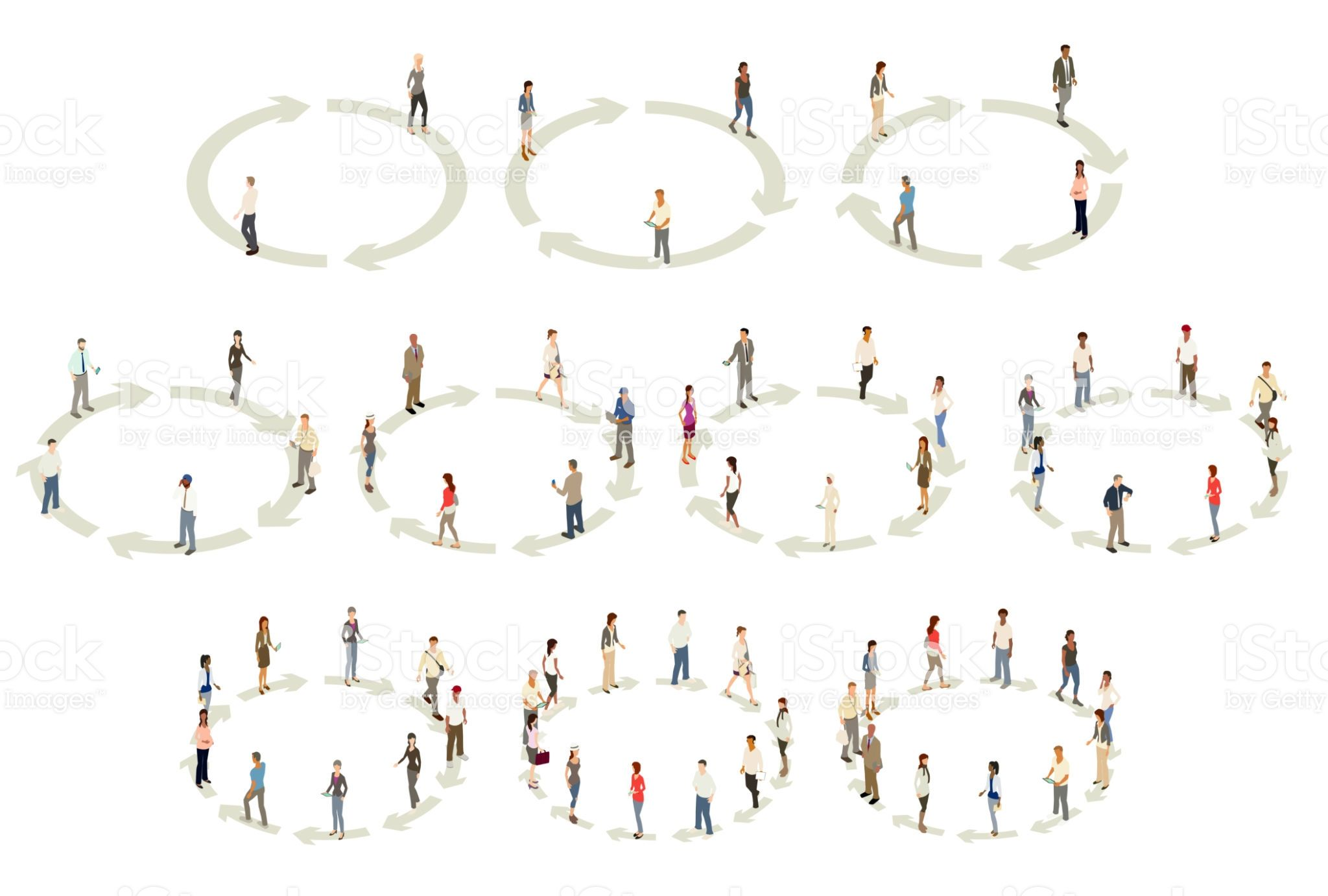 Illustrated people stand on circular diagrams formed by