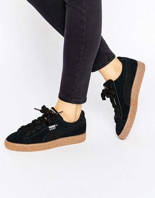 17d8290f837 Puma X Careaux Black Suede Basket Sneakers With Speckle Gum Sole ...