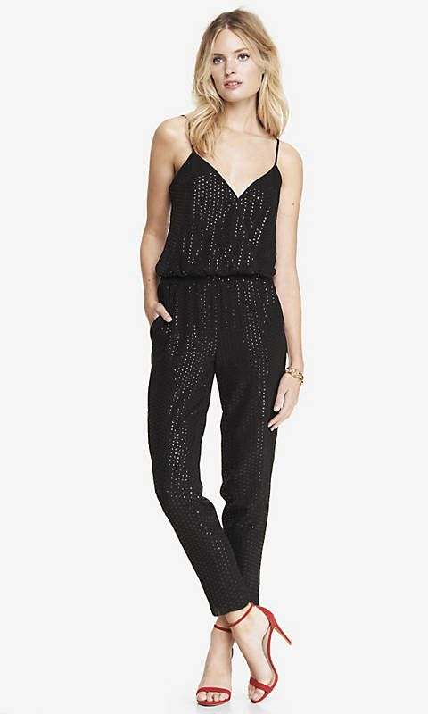 d0e2aaec327 ALL-OVER SEQUIN CROSSOVER CAMI JUMPSUIT