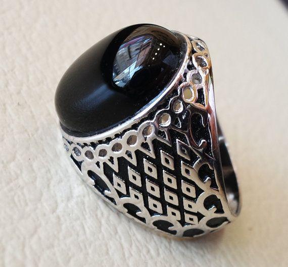 Aqeeq agate naturelle onyx semi pierre précieuse ovale cabochon noir homme  bague en argent sterling Turquie Moyen-Orient arabe style envoi rapide et  soigné ... 2f852d7ce752