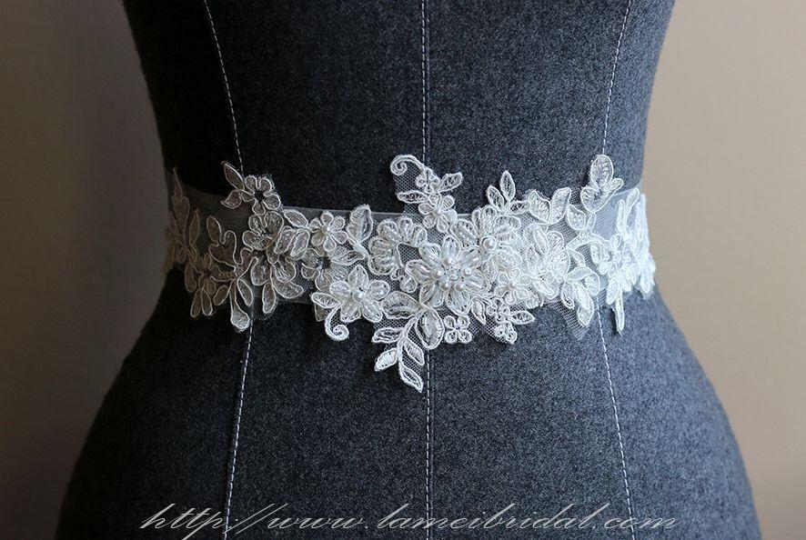 Ivory White Lace on a see through ribbon wedding dress sash belt ...