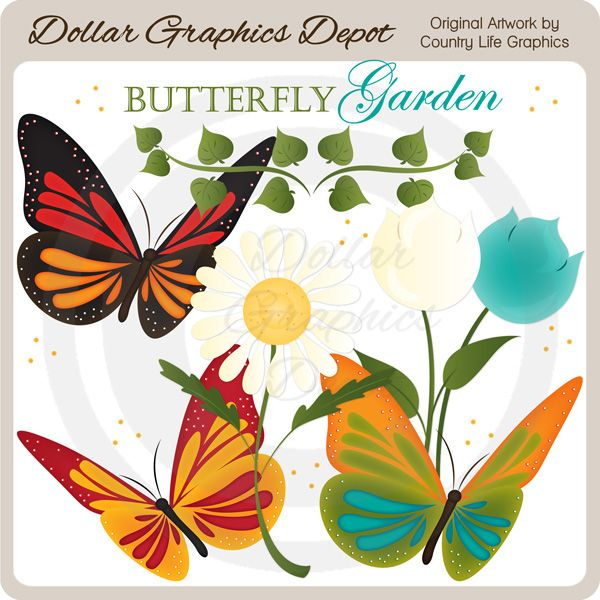 Butterfly Garden Clip Art Set, by Country Life Graphics ... (600 x 600 Pixel)