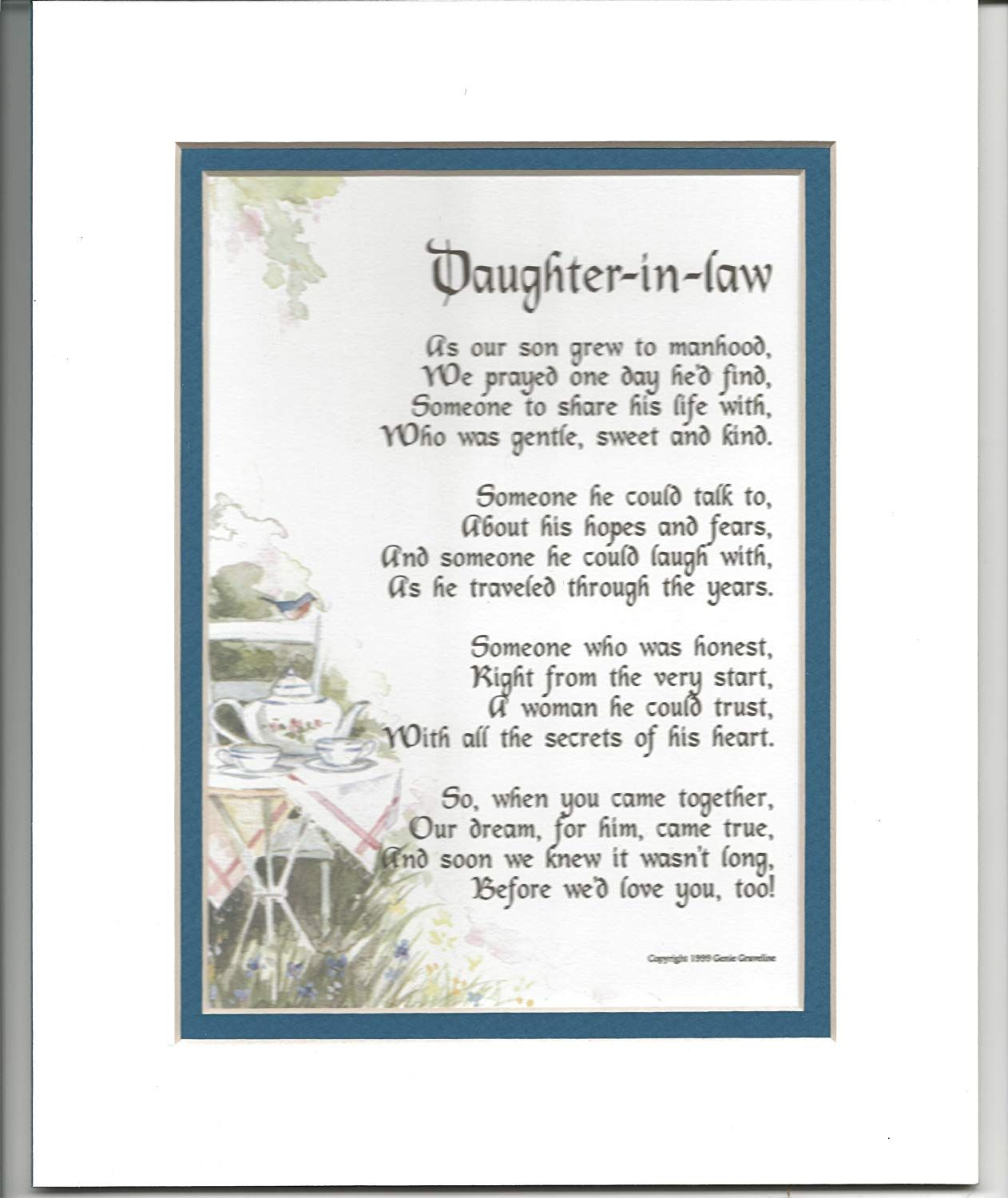 Bridal shower gift poem daughter in law gifts daughter