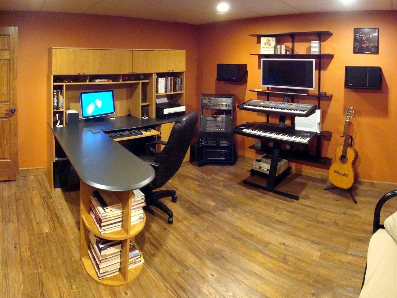 Lshaped desk Man cave room, Bars for home, Game room